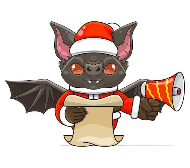 Illustration d'un animal de chauve-souris humanoïde unique portant un costume tenant un mégaphone et lisant le script