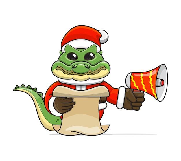 Illustration d'un animal croc humanoïde unique portant un costume tenant un mégaphone et lisant le script