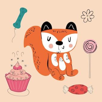 Illustration d'un animal de différents types parmi les articles de vacances