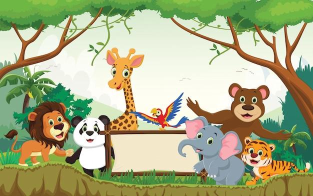 Illustration d'un animal heureux dans la jungle