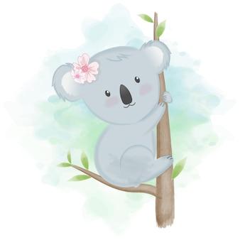 Illustration d'animal mignon koala dessiné à la main