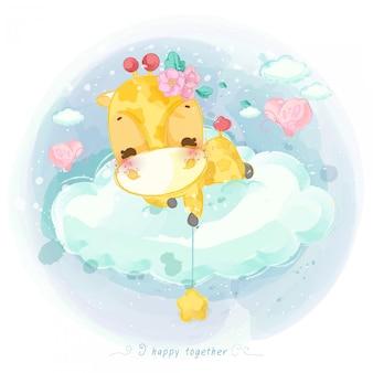 Illustration d'un animal mignon sur un nuage