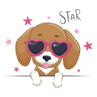 Illustration animale avec chien mignon fille avec des lunettes.