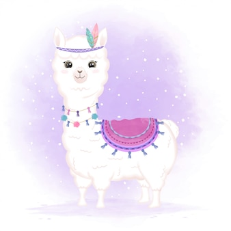 Illustration animale de dessin animé mignon bébé tribal llama dessiné à la main