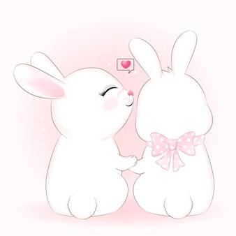 Illustration animale de dessin animé mignon couple lapin