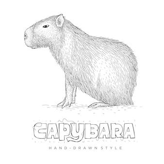Illustration animale dessinée à la main capybara