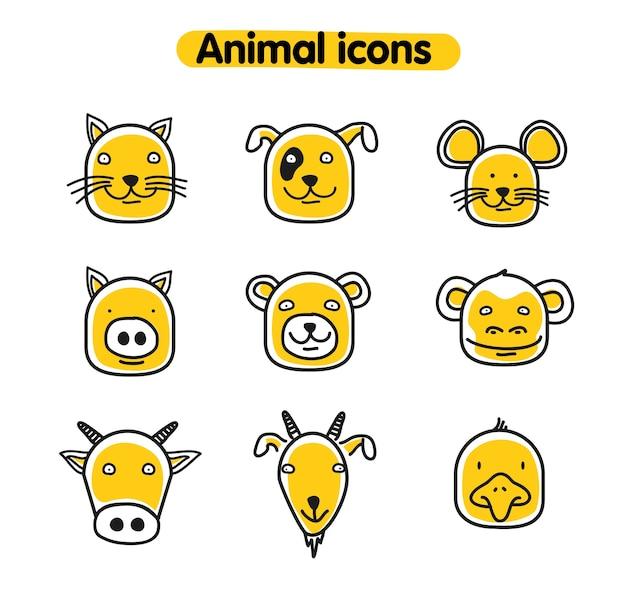 Illustration animale dessinés à la main - icônes vectorielles