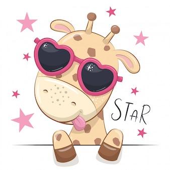 Illustration animale avec girafe jolie fille avec des lunettes.