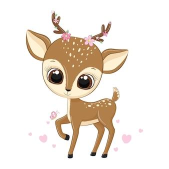 Illustration animale mignon petit cerf avec des fleurs.