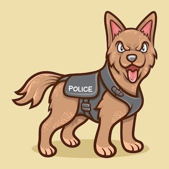 Illustration animale mignonne de chien de police