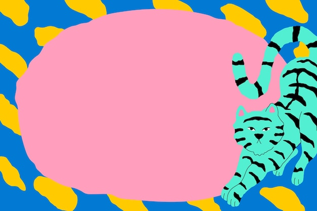 Illustration animale mignonne et colorée de cadre de tigre