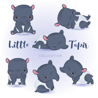 Illustration d'animaux adorables à l'aquarelle pour la décoration de la pépinière