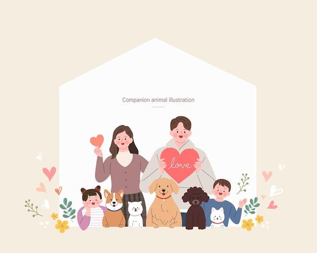 Illustration d & # 39; animaux de compagnie avec des gens