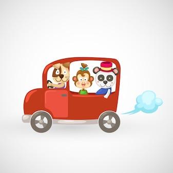 Illustration d'animaux isolés dans une voiture rouge