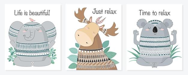 Illustration d'animaux méditatifs de croquis de dessin animé de vecteur avec l'ornement indien