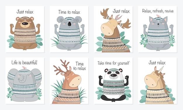 Illustration d'animaux méditatifs de croquis de dessin animé de vecteur avec la phrase indienne d'ornement et de motivation