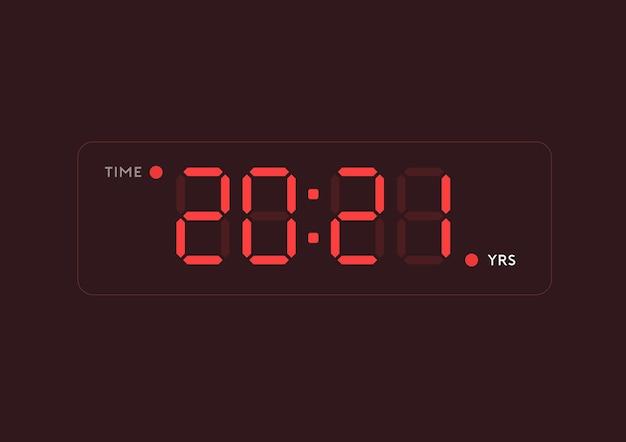 Illustration de l'année 2021 dans le style numérique de l'horloge