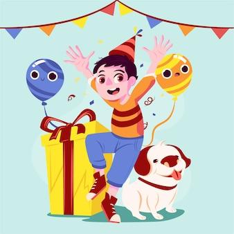 Illustration d'anniversaire avec enfant et chien