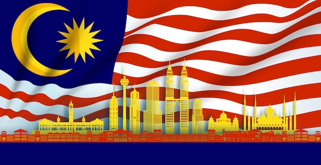 Illustration anniversaire de l'indépendance fête nationale en fond de drapeau de la malaisie