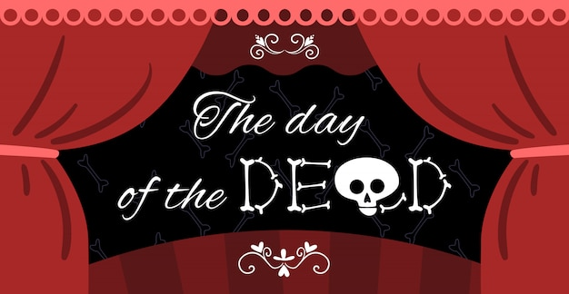 Illustration d'annonce de performance morte mexicaine avec rideau de théâtre et lettrage de crâne d'os