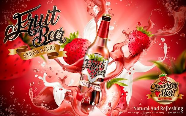 Illustration d'annonces de bière aux fraises