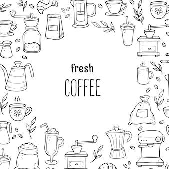 Illustration des appareils et des ingrédients de style doodle dessinés à la main autour du texte de café frais.