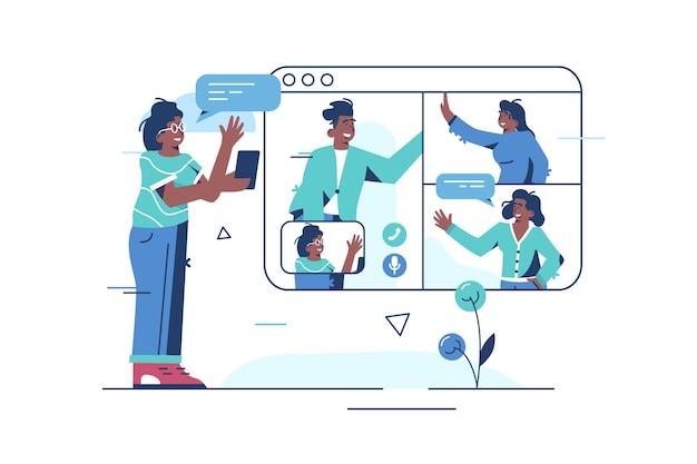 Illustration d'appel vidéo en ligne.