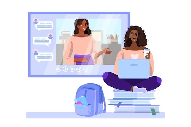 Illustration d'appel vidéo avec tuteur en ligne