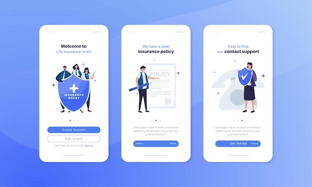 Illustration de l'application d'assurance-vie sur le concept d'écran mobile embarqué