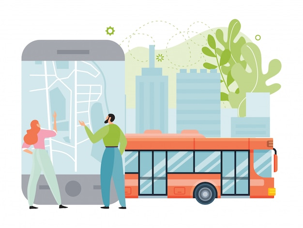 Illustration de l'application de transport public de la ville, petit couple de dessin animé plat personnes utilisant un smartphone avec plan de la ville pour la navigation, trajet en bus