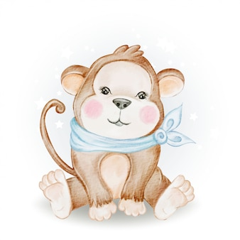 Illustration aquarelle adorable bébé singe mignon