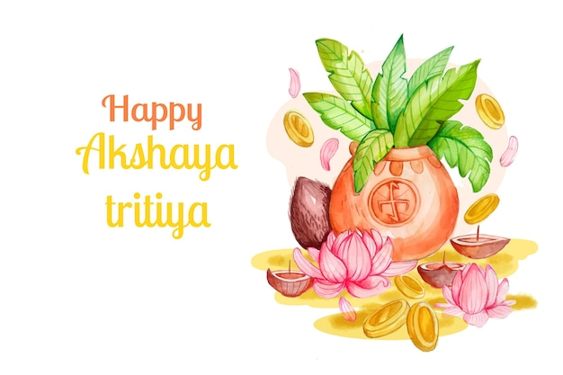 Illustration aquarelle akshaya tritiya
