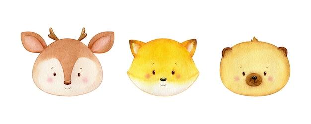 Illustration aquarelle d'animaux des bois, cerfs, renards et ours
