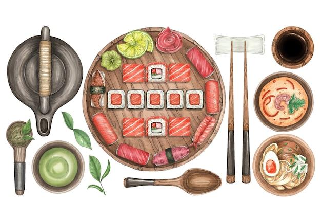 Illustration aquarelle avec assiette de sushi, thé, soupe et bâtons