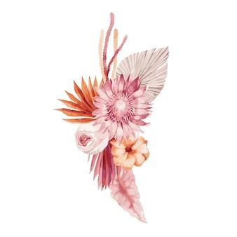 Illustration aquarelle, bouquet d'automne, composition de style bohème avec des feuilles de palmier bordeaux, orchidée, protea, aster jaune et anthurium