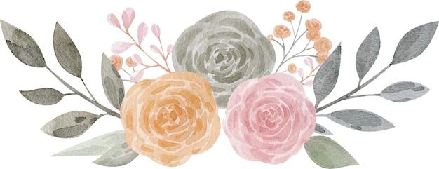 Illustration aquarelle bouquet floral rose pêche avec des feuilles