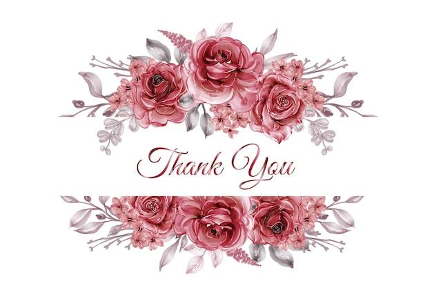 Illustration aquarelle de cadre floral rose rouge bordeaux