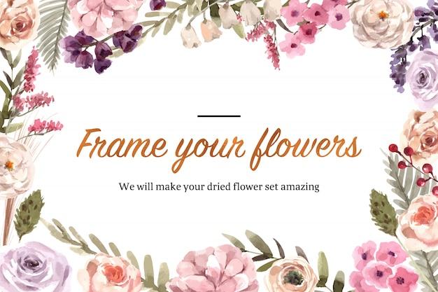 Illustration aquarelle de cadre floral séché