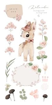 Illustration aquarelle cerf, fleur, feuille et naturel sauvage ensemble dessiné à la main