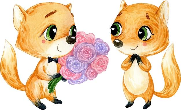 Illustration aquarelle de chanterelles amoureuses mignonnes avec des fleurs