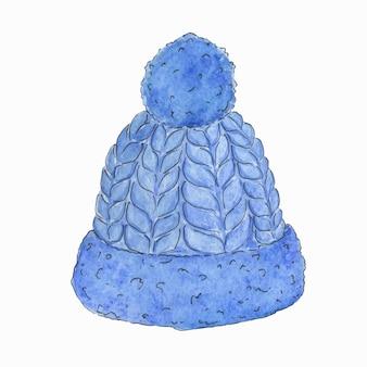 Illustration à l'aquarelle d'un chapeau bleu avec un pompon.