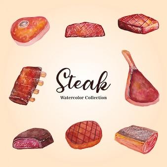 Illustration aquarelle de la collection de steaks