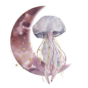 Illustration à l'aquarelle. composition abstraite lunaire magique. lune et méduses avec des touches dorées. composition isolée sur fond blanc.