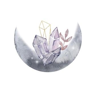 Illustration à l'aquarelle. composition abstraite magique. lune et pierres précieuses et fleurs. illustration magique isolée sur fond blanc.