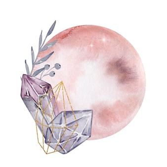 Illustration à l'aquarelle. composition abstraite magique. pleine lune et pierres précieuses. illustration magique isolée sur fond blanc.