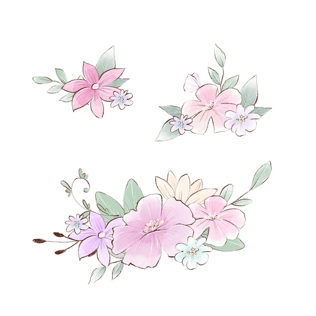 Illustration aquarelle de composition de bouquets avec des fleurs printanières délicates