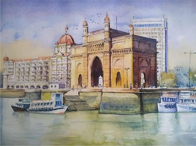Illustration aquarelle dessinée à la main de bateau à voile