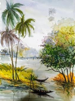 Illustration aquarelle dessinée à la main belle nature vecteur premium