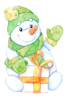Illustration aquarelle dessinée à la main avec un bonhomme de neige mignon