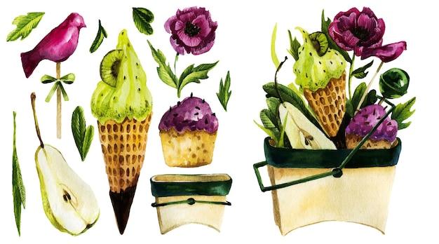 Illustration aquarelle dessinée à la main de desserts.